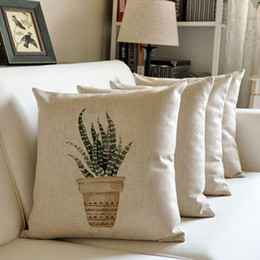 Wholesale Cheap Pillows - Wholesale Cheap Newest 18 Inches Plant Print Leaf Linen Cushion Cover Sofa Throw Pillow Case Without Insert
