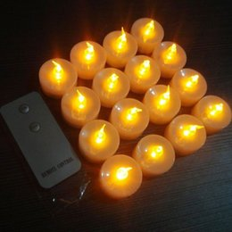 Wholesale Led Tea Lights Remote - 12pcs Electronic Led Candle Flickering Flameless Tea Light Amber Glow With Remote Control For Wedding Party Xmas Decor