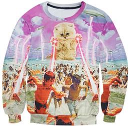 Wholesale Galaxy Cats Sweatshirts - Wholesale- Kitten laser Cats 3D printed Sweatshirt lightning beach graphic O-Neck Hoodies space galaxy pullover Men Women tops clothing
