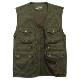 Wholesale Casual Cargo Jacket - Wholesale- New L-4XL Men Casual Multi-Pocket Vest Cotton Cargo Waistcoat Male Plus Size Vest Summer Sleeveless Jacket A365