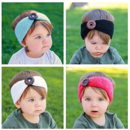 Wholesale Headband Baby Wool - Baby Girls Fashion Wool Crochet Headband Knit Hairband With Big Button Decor Winter Newborn Infant Ear Warmer Head Headwrap