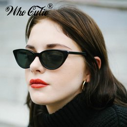 Wholesale blue tinted lenses - WHO CUTIE 2018 Small Cateye Triangle Sunglasses Sexy Women Vintage Cat Eye Frame Tint Red Mirror Lens Sun Glasses Shades 440B