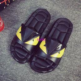 Wholesale Court Flooring - luxury flip flops mens Shoes floor indoor lovers small monsters slippers bathroom with thick soles