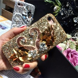 Wholesale Iphone Swan - Swan Phone Case for iPhone 6 6s plus 7 plus Animal Gold Swan Diamond Rose Gold Elegant pu Phone Case for Girl Women