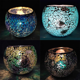 Wholesale Coloured Glass Balls - 9*12CM Spherical Glass Mosaic Crack Candlestick european style Candle Holders bandhnu colour candlelight dinner Candle Holders