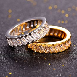 Wholesale platinum rings for women - U7 Luxury Classic Band Rings for Women Men Fashion Gold Platinum Plated Cubic Zirconia Jewelry Perfect Gifts Couple's Rings Accessories