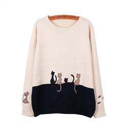 Mulheres do gato do bordado on-line-Atacado-Mulheres De Malha De Manga Longa O-pescoço Bordado Gato Patchwork Camisola 2016 Outono Inverno das Mulheres Pullovers Pull Femme Jumper Tops