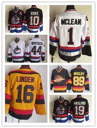 Wholesale Vintage Heritage - CCM #1 Kirk Mclean 10 Pavel Bure 16 Trevor Linden 89 Alexander Mogilny Black White Vintage Vancouver Heritage Canucks Nhl Ice Hockey Jerseys