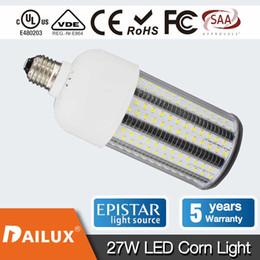Wholesale E27 White 3528 - 27 Watt LED Corn Street Light E39 E26 3510Lm 5000K White 100W Replacement Warehouse Lighting Garden Lighting (Self Cooling Device) YH