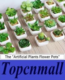Wholesale Wholesale Artificial Flowers Vases - 45 Styles Artificial Plants with Vase Bonsai Tropical Cactus Fake Succulent Potted Office Home Decorative Flower Pots TPML-2359