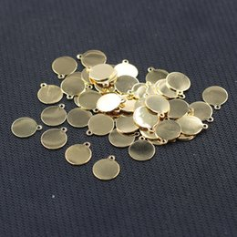 Wholesale Wholesale Supplies For Jewelry - Gold Plated Round Slice Pendants For Jewelry Making Craft Supplies Wholesale Charms YHA-293-10