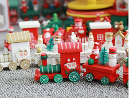 Wholesale Christmas Presents For Kids - Christmas decorations are made of wood Christmas presents for young train children High quality wooden train
