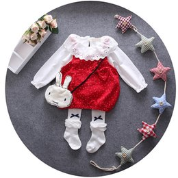 Wholesale Baby Shirt Straps - 2PC Toddler Baby Girls Infants Long Sleeve Shirt Dress+Umbrella Strap Dress Clothes Outfits Children Clothing 1-3Years