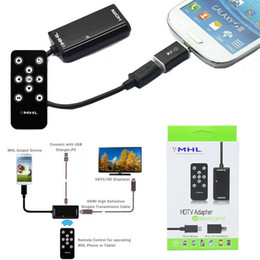 Wholesale Mhl Hdmi Adapter Remote - MHL HDMI Cable Adapter Remote Mirror Phone Screen to TV HDTV for Sony Xperia Z1 L39h Ultra XL39h Samsung S5 S4