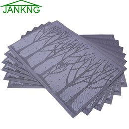 Wholesale Wholesale Dinner Place Mats - Wholesale-JANKNG 4Pcs lot Cartoon Dinner Placemats PVC Place Table Mats Forest Tree Tableware Dinnerware Lovely Kitchen Table Pads Tools