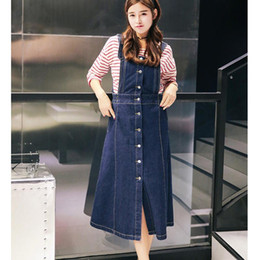 Wholesale Jumpsuits Jeans Denim For Women - Wholesale- 2016 Spring Summer Vintage Denim Overall Skirt Fashion Front Button Long Jumpsuits Blue Jeans Suspenders For Women
