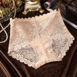 Wholesale Sexy Underwear Pants For Women - Sexy lace full transparent women's underwear lady high waist pants hollow lace edge briefs for women