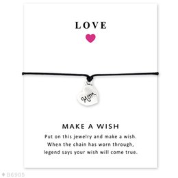 Wholesale Friends Day Cards - Silver Tone Mem Brother Heart Son Friends Disc Charm Bracelets & Bangles Gifts For Women Girls Adjustable Friendship Statement Jewelry Card