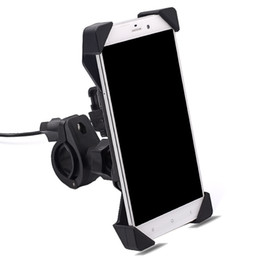 Wholesale Usb Switch Interface - Wholesale- car motorcycle mobile stand holder electronics driver mobile charger holder USB interface with switch