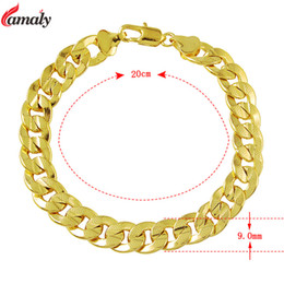 Wholesale Gold Jewelery Sets - Wholesale- 9mm 8'' inch Gold Link Chain Bracelets for Men Fashionable 24K Yellow Gold Plated Jewelry Top Quality Wedding Jewelery Bangles