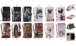 Wholesale Monkey Cards - Cartoon Animal Tiger Wallet Leather Case For Iphone 8 7 6 6S Plus 5 5S SE Dog Ape Monkey Dreamcatcher Flower ID Card Stand Phone Cover 50pcs