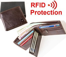 Wholesale Photo Blocks - Wholesale- MRF1 NEW new stylish RFID BLOCKING Men wallet+ genuine cow Leather + Bifold Purse with coin pocket+ RFID protection