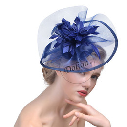 Wholesale Feather Accessory Wedding - Modern Feather Flower Fascinator Hats For Wedding Banqut Party Evening Specail Occasion Formal , Ladies Bridal Accessories 2017