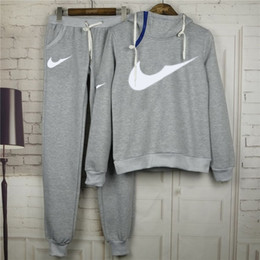 Wholesale Velour Running Suit - New Women active set tracksuits Hoodies Sweatshirt +Pant Running Sport Track suits 2 Pieces jogging sets free shipping