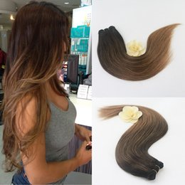 Wholesale Brown Frosted Hair Extensions - Balayage Ombre Two Tone Colored Off Black to Choclate Brown Highlights 100% Straight Remy Human Hair Extensions Full Head