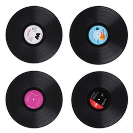 Wholesale Round Dinner Tables - Wholesale- 2pcs LP Table Record Place Mats CD Dinner Pad Coasters Placemat Decoration