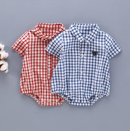 Wholesale Red Plaid Collar - INS 2017 European and American Style new arrival baby Short Sleeve Plaid baby turn down collar romper high quality cotton 2 color free ship