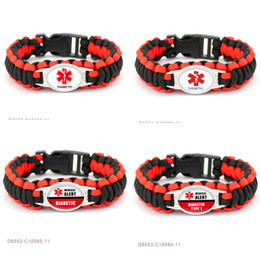 Wholesale Diabetic Charms - Diabetic Medical Alert Paracord Survival Gifts for Diabetic Type 1 Friendship Outdoor Womens Girls Ladies Bracelets