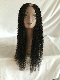 Wholesale Indian U Part Wigs - Kinky Curly Human Hair Wig Mongolian Kinky Curly U Part Wig Middle or Side Opening U Shaped Wig Curly Human Hair Wigs