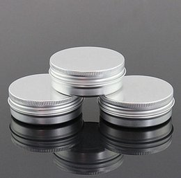 Wholesale Round Cosmetic Tins - 60g aluminum empty cosmetic container with lids 60ml small round lip balm tin solid perfume cosmetic packaging jar sample bottle