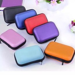 Wholesale Earbud Cases - Colorful Earphone Storage Carrying Bag Rectangle Zipper Earpphone Earbud EVA Case Cover For USB Cable Key Coin Free DHL