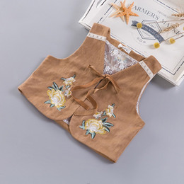 Wholesale Khaki Vest Wholesale - Everweekend Girls Autumn Cute Floral Embroidered Vest Jacket Cute Baby Pink and Khaki Color Clothes Lovely Kids Autumn Coat Waistcoats