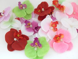 Wholesale Wedding Hat Hair Pieces - flower head 10 pieces Artificial Phalaenopsis Orchids Silk Flower Heads for hair clip Hat wedding decoration A41