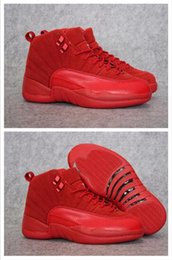 Wholesale High Fashion Discount Shoes - High Quality New Air Retro 12 XII Basketball Shoes Fashion Men Women Discount Retro XII 12 Sneakers Red Suede Shoes US 36-46