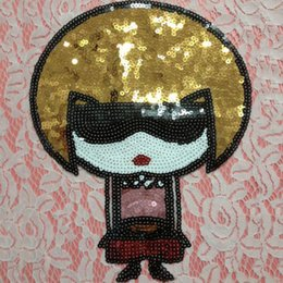 Wholesale Cool Jackets For Girls - 20pcs Cool Girl Sequins Patch For Clothing Jacket Patches Glitter parches ropa Motorcycle Embroidered Fabric Patchwork Dress Shirt Appliques