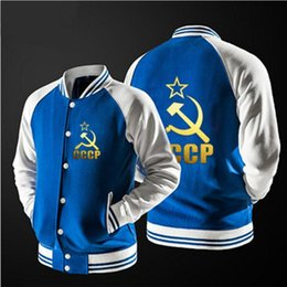Wholesale Russian Coats - Autumn spring 60% Cotton brand Coats Unique CCCP Russian baseball jacket young style Sweatshirts Keep warm Outerwear Unisex comfort Jacket