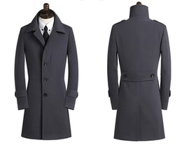 Wholesale cashmere overcoats men - 2018 New Spring Autumn Winter Men's Trench Coats Breasted Overcoat Size S-9XL
