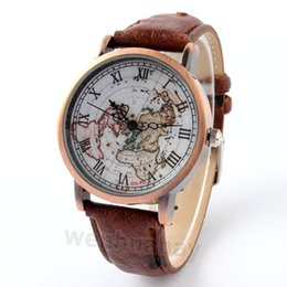 Wholesale World Map High Quality - Wholesale- 4 colors 1 piece High Quality FeiFan Brand Vintage Leather Strap Watch World Map Watch Unisex Quartz watches