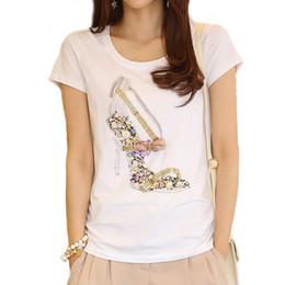Wholesale High Heels Diamond - Wholesale- High Heels Print T Shirt Women Summer Novelty Diamonds Tops Short Sleeve Cute Plus Size White T-Shirt Tops Tees Feminina A253