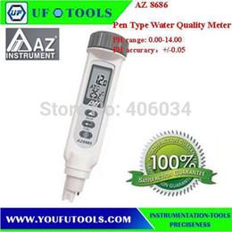 Wholesale Multi Tester Digital - Wholesale- AZ8686 Pen Type Digital pH Meter Tester Water Quality Meter waterproof dual display ATC Date hold Auto Multi points calibration