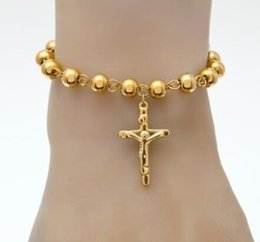 Wholesale Catholic Cross Charms - promotion Stainless Steel Rosary Bracelet New Top QualityAAA quality Women Bead Bracelet With Cross Jesus Pendant Religious Catholic Bracele