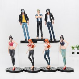 Wholesale Trafalgar Law Toys - 7pcs lot 17cm Anime One Piece JEANS FREAK Nami Nico zoro Trafalgar Law PVC Figure Collectible Model Toy