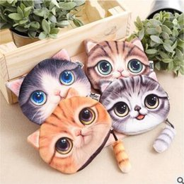 Wholesale Printer Cartoon - Coin Purse Bag Wallet 4 Design 3D Printer Cat face Cat with tail Girls Clutch Purses Change Purse cartoon handbag case