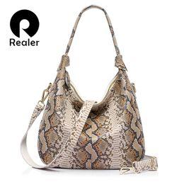 Wholesale Hobo Tote Pattern - Wholesale- REALER brand new women genuine leather handbag serpentine pattern leather tote bag large capacity casual ladies shoulder bags