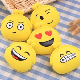 Wholesale Smiley Face Purses - Wholesale- Wallets Women Yellow Smiley Face Cute coin Purse Silicone