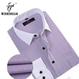 Wholesale Black White Stripe Blazer - Wholesale- WEONEDREAM New Arrival Men's Formal Dress Shirt Male Cotton Long Sleeve Slim Iron-free Fit Blazer Stripe Solid Shirt Mulicolor